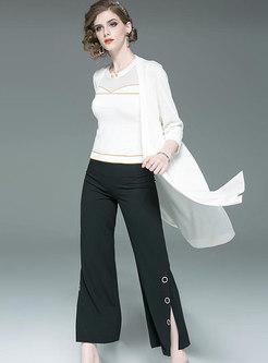 Elegant Black Slit Wide Leg Pants