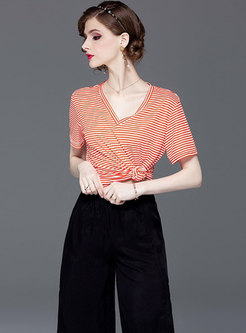Striped V-neck T-shirt & Slit Wide Leg Pants