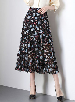 All-matched Black Floral Print Irregular Sheath Skirt