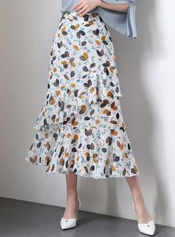 All-matched White Floral Print Irregular Sheath Skirt