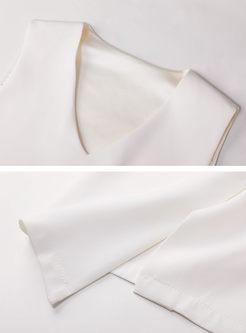 Stylish V-neck Short Top & High Waist Bowknot Skirt