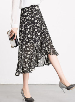 Chiffon Floral Print Mermaid Skirt