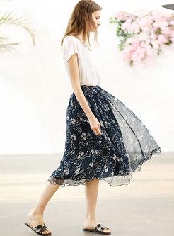 Vintage Print Silk High Waist Skirt