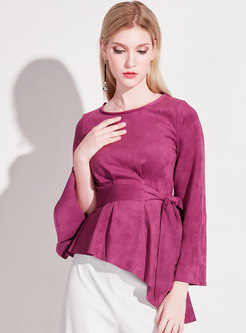 O-neck Flare Sleeve Tied Irregular Top