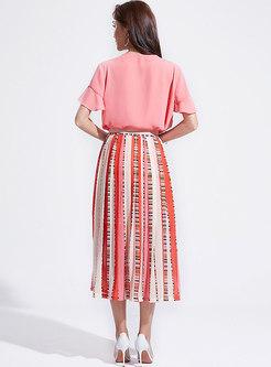 V-neck Falbala Pink Top & Striped Skirt