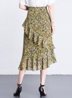 Asymmetric Chiffon Print Mermaid Sheath Skirt