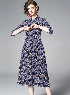 Stylish Print Stand Collar Slim Skater Dress