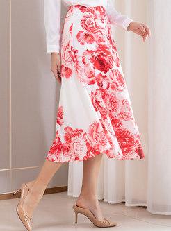Stylish Print High Waist A Line Skirt