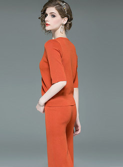 Solid Color V-neck Tied Knitted Top & Straight Pants