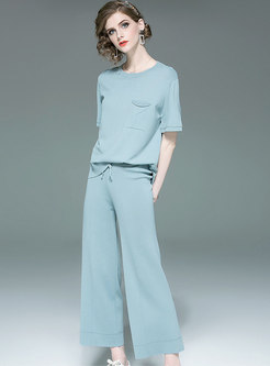 Solid Color O-neck Knitted Top & Tie-waist Straight Pants