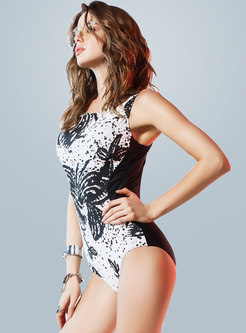 Stylish Multi-color Print One Piece Swimwear