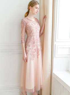 Mesh Embroidered Half Sleeve Pink Maxi Dress