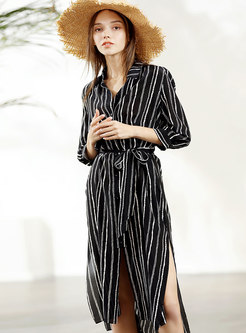 Loose Striped Belted Zip-up T-shirt Dress