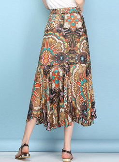 Bohemia Chiffon Print Split Mermaid Orange Skirt