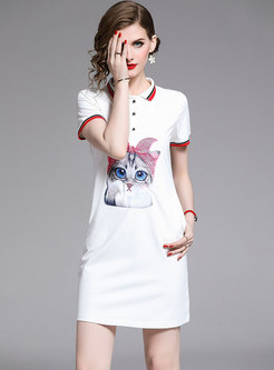Brief Cartoon Cat Pattern T-shirt Dress