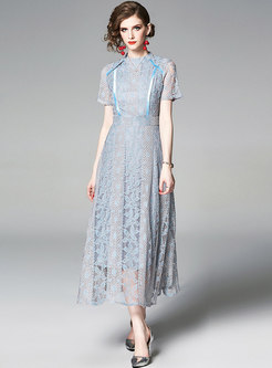 Stand Collar Hollow Out Slim Lace Maxi Dress