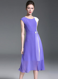 Elegant Color-blocked O-neck Belted A Line Dress