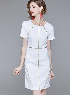 Brief Color-blocked O-neck Sheath Dress