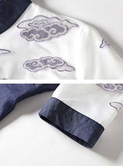 Denim Splicing Stand Collar Half Sleeve Skater Dress