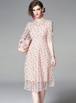 Polka Dot Stand Collar Puff Sleeve Slim Dress