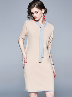 Color-blocked Tie Half Sleeve Knitted Dress