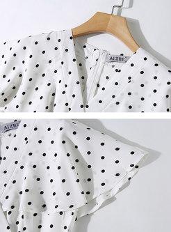 Polka Dot V-neck Tie-waist Falbala Skater Dress
