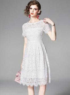 Pure Color Lace Hollow Out Midi Dress