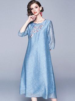 Vintage Embroidered Three Quarters Sleeve Loose Dress