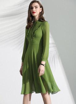 Pure Color Stand Collar High Waist Midi Dress