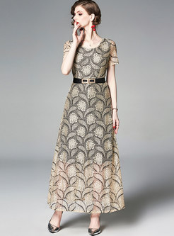 Elegant Lace O-neck Belted Slim Maxi Dress