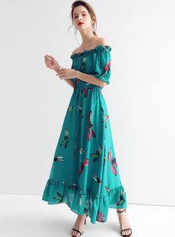High Waist Print Slash Neck Maxi Dress