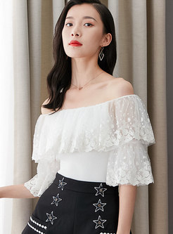 Slash Neck Embroidered Lace Splicing Knit