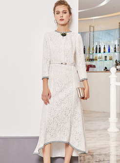 Chic Lace O-neck Belted Slim Asymmetric Dress