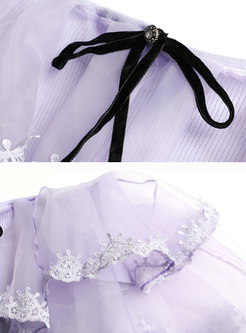 Purple Organza Lace Splicing Knitted Sweater