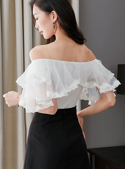 White Organza Lace Splicing Knitted Sweater