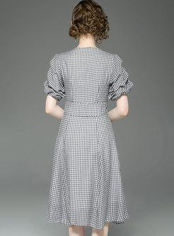 Plaid V-neck Puff Sleeve High Waist Skater Dress