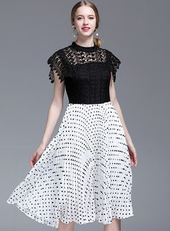 Hit Color Polka Dot Splicing Pleated Dress