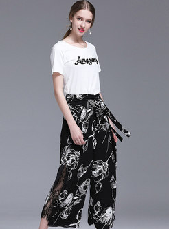 Letter Embroidered T-shirt & Lace Splicing Print Pants
