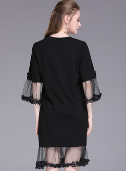 Chic Mesh Beaded Sequined Splicing T-shirt Dress