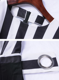 Black and White Stripes Bowknot Gathered Waist Jumpsuit