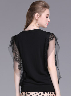 Trendy Lace Sleeveless Pure Color Knitted Top