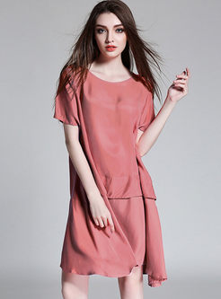 Brief Solid Color O-neck Loose Shift Dress
