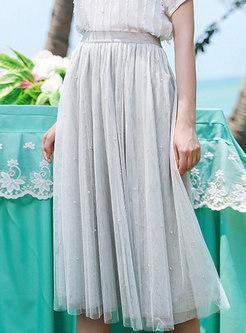 Solid Color Elastic Waist Mesh Pleated Skirt