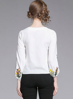 V-neck Lantern Sleeve Embroidered Chiffon Blouse