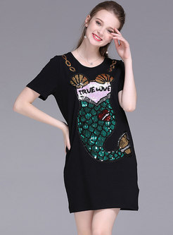 Casual Sequined Splicing Loose T-shirt Dress