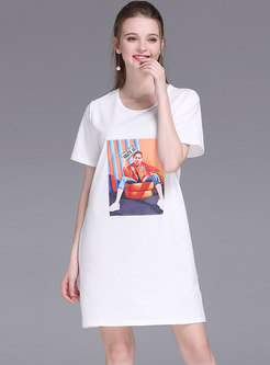 Brief All-matched Personality Print T-shirt Dress