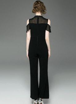 Work Black Off Shoulder Splicing High Waist Jumpsuit
