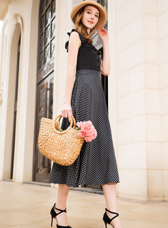 Polka Dot Chiffon Splicing Sleeveless Skater Dress