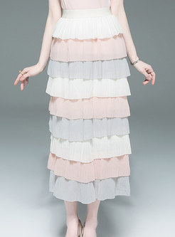 Chic Multi-color Chiffon Tiered Skirt