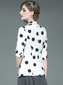 Trendy Lapel Polka Dot Three Quarters Sleeve Blazer
